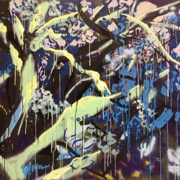 THINK TWICE Acrylique, encre, peinture aérosol sur toile, 119 x 135 cm, 2015 collection particulière