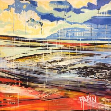 FM BEACH Acrylique, encre, peinture aérosol sur toile, 134 x 148 cm, 2015