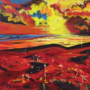 HOT TODAY Acrylique, encre, peinture aérosol sur toile, 134 x 148 cm, 2015