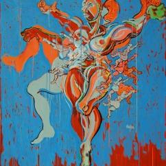 LOVE WILL NEVER BE POP Acrylique, peinture aérosol sur toile, 148 x 139 cm, 2015-17.