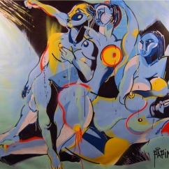 PEACE IS THE ANSWER Acrylique, encre, peinture aérosol sur toile, ? x ? cm, 2015. Collection particulière.