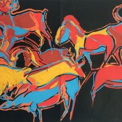 RITUAL 2 Acrylique sur papier, 45 x 59 cm, 2018. Collection particulière.