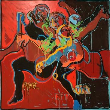 RITUAL (nouvelle version) Acrylique, encre, peinture aérosol sur toile, 142 x 145 cm, 2016-19.