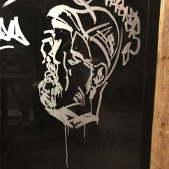 OBAO WRITER' Encre sur panneau en verre, 2019